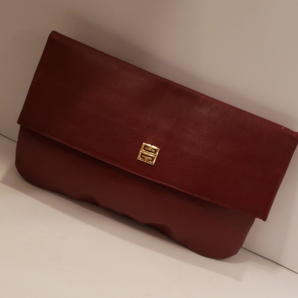 Givenchy Handbags - Givenchy burgundy wine vintage leather clutch